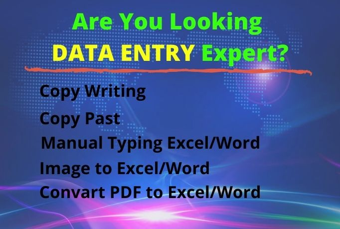 I will Provide you Data Entry and Copy Writing work