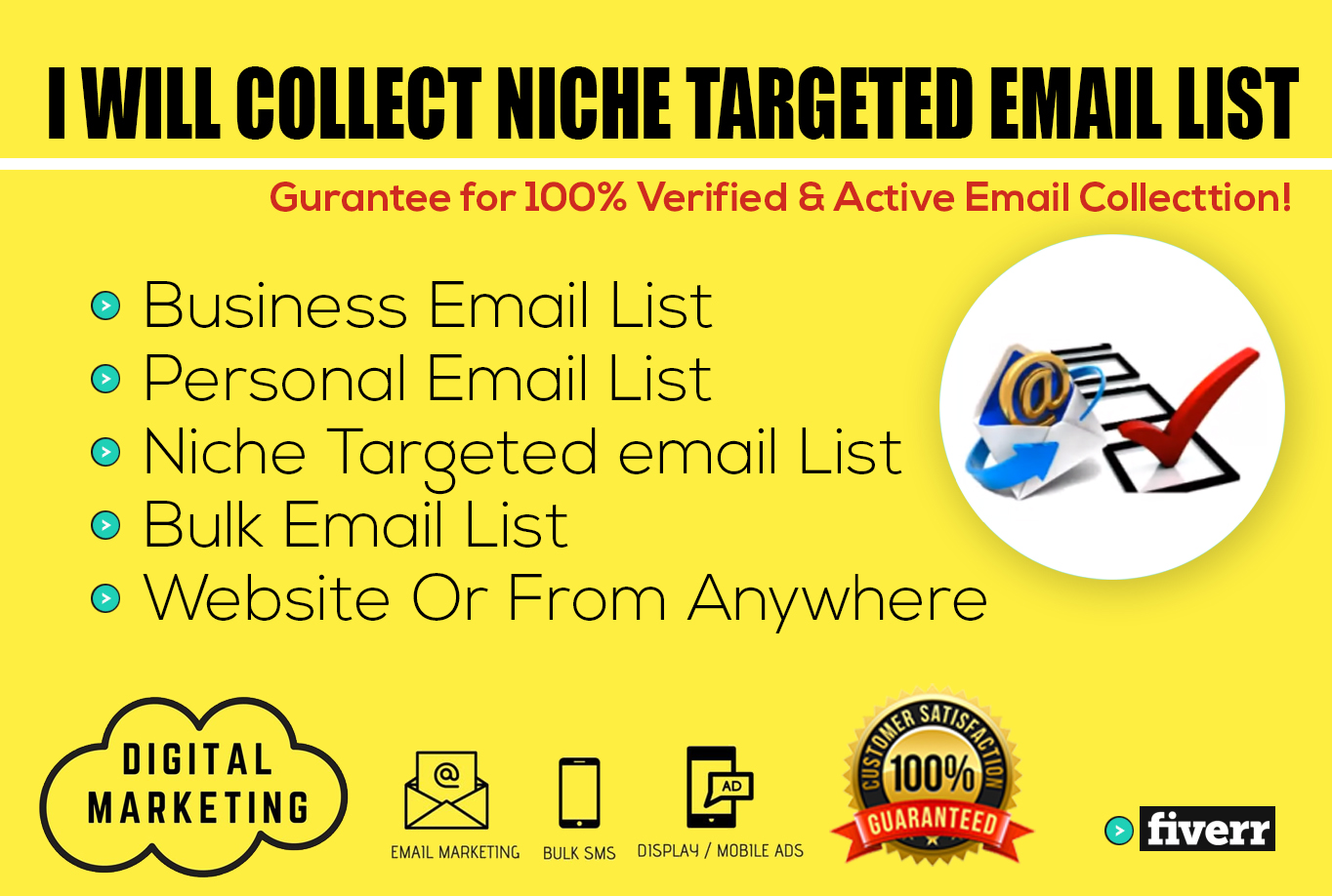 I will collect niche targeted email list clean and verified