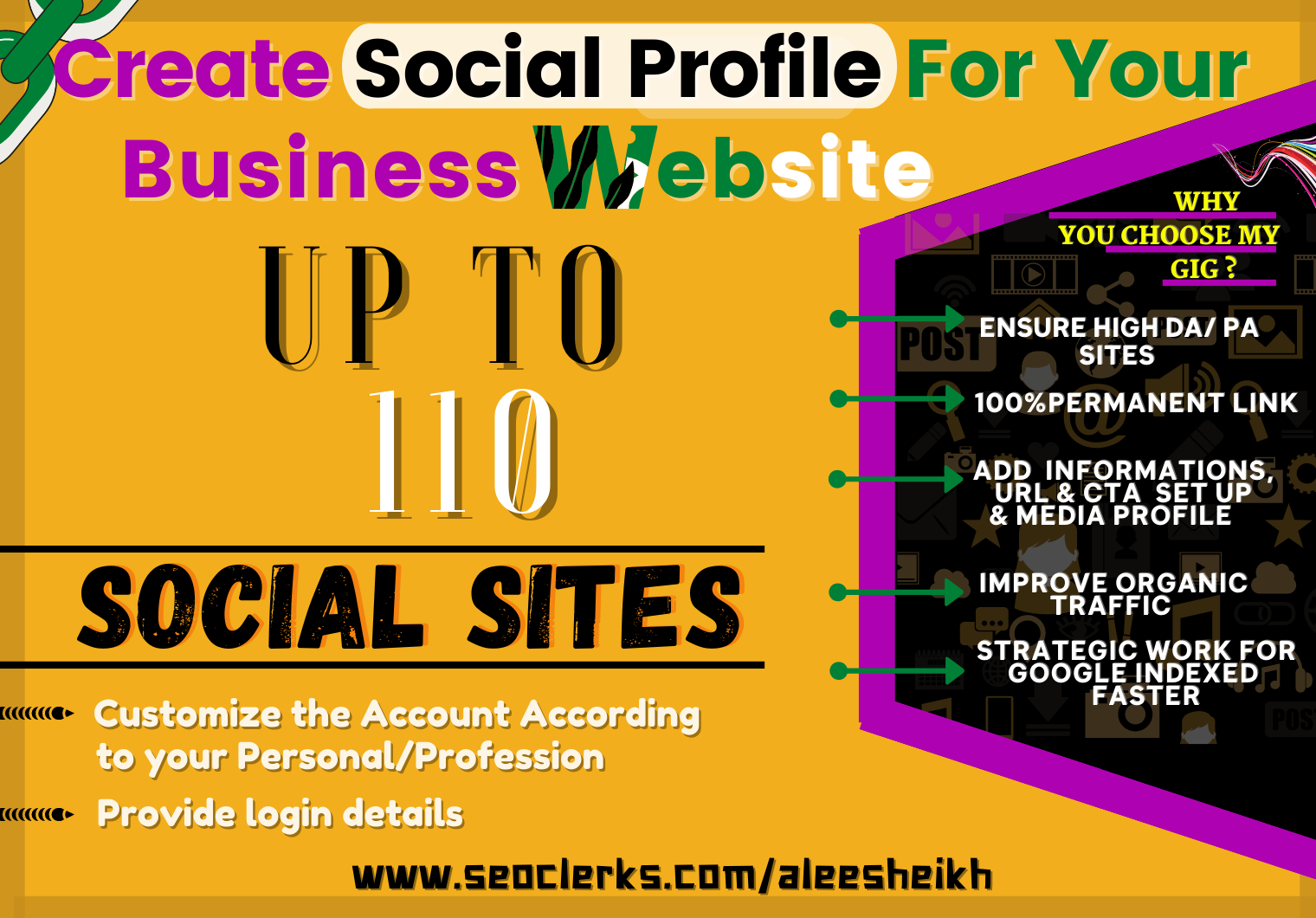 I will Setup 110 Social Profile for branding your business & Get strong backlink for website