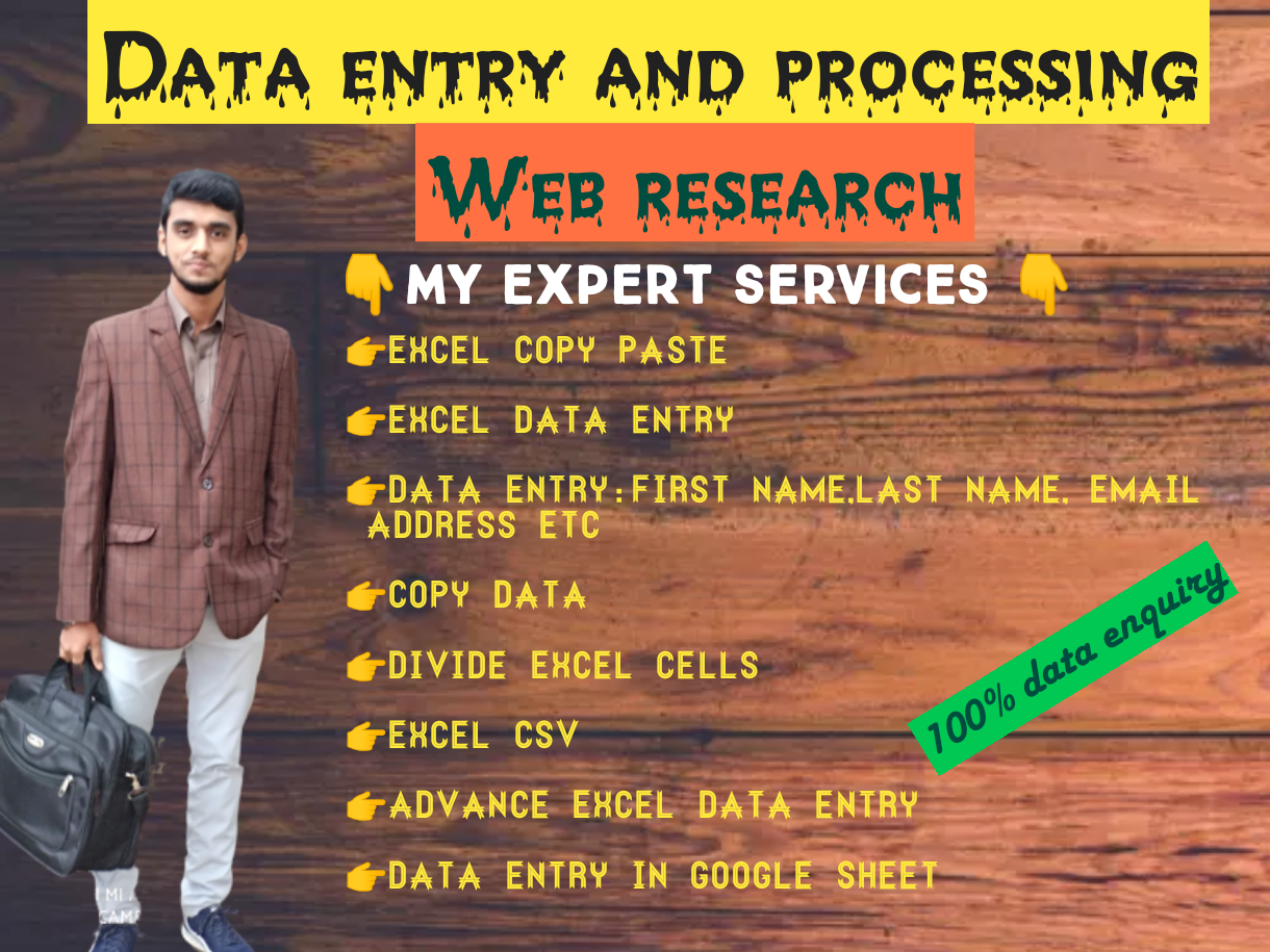 I'll provide all kinds of data entry with guarantee