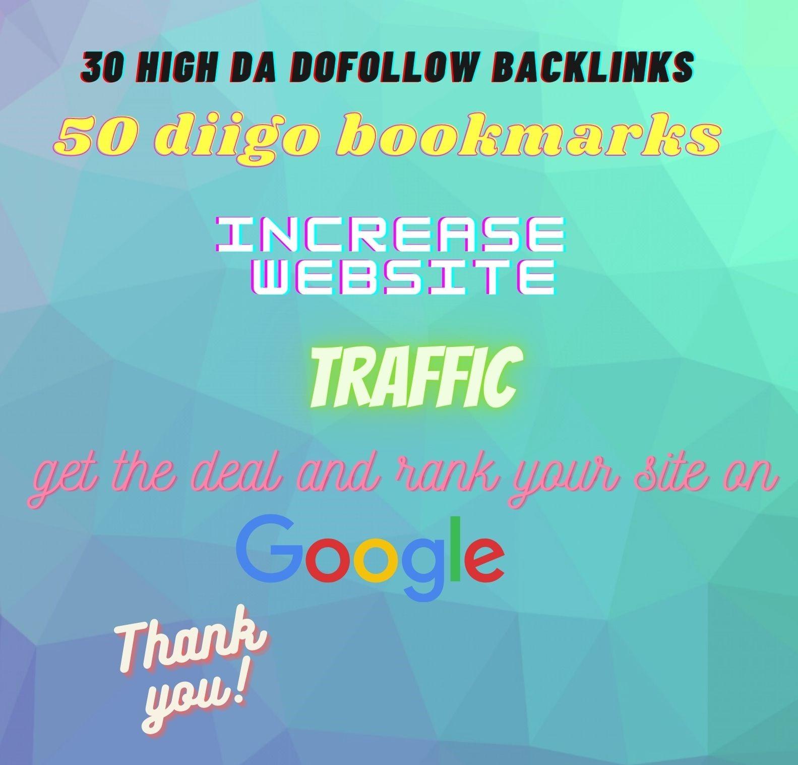 I Will make 30 high DA Dofollow Backlinks &50 Diigo bookmarks