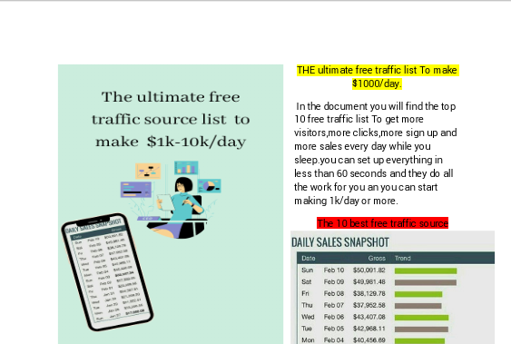 The powerful free traffic source list to make 1k-10k/day while you sleep