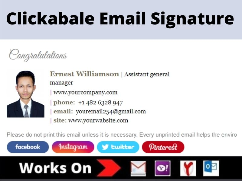 I will make html email signature or clickable email signature