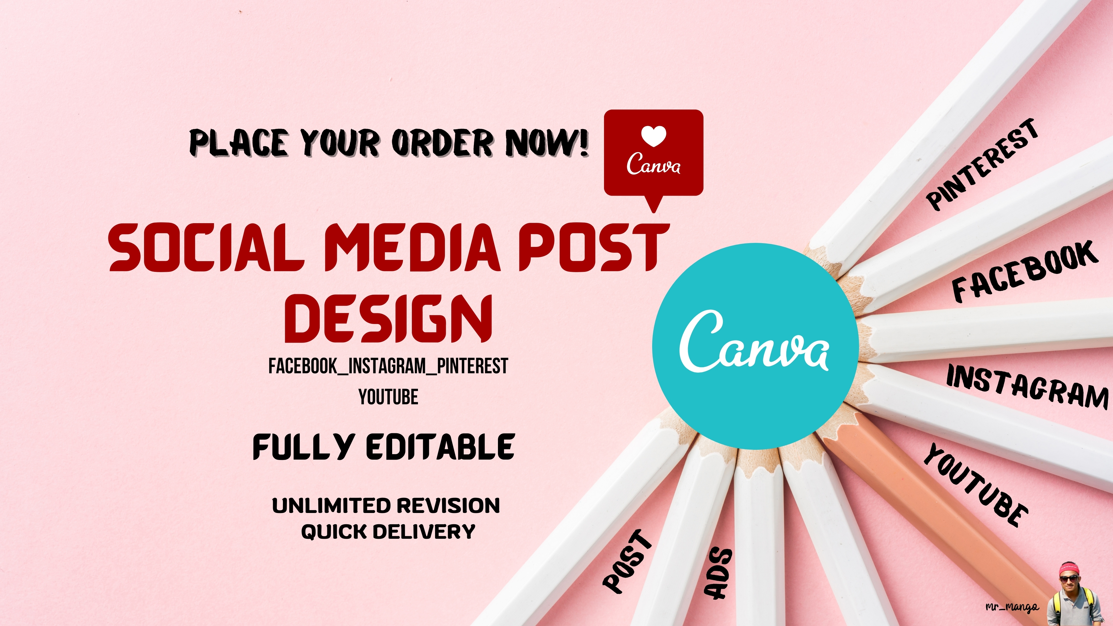 I will design social media post & editable canva pro templates