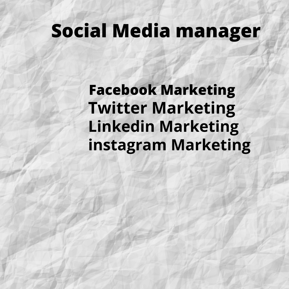I will be your social media marketing manager.