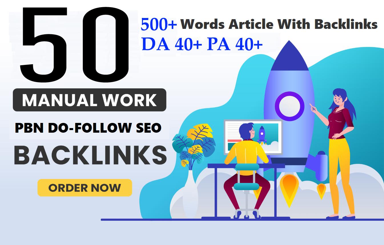 Unique 50 Sites DA 40+ PA35+ PR 5+ Web 2.0 50 PBN