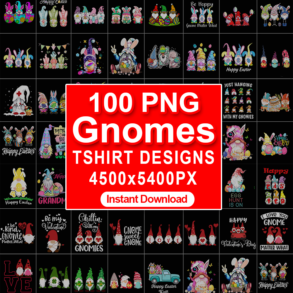 100 PNG Gnomes Tshirt Design For Print On Demand