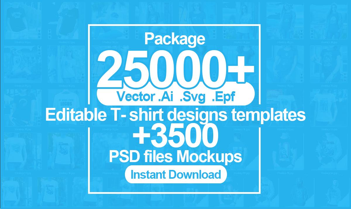 Deliver 25k tshirt design vector template and 3k mockups
