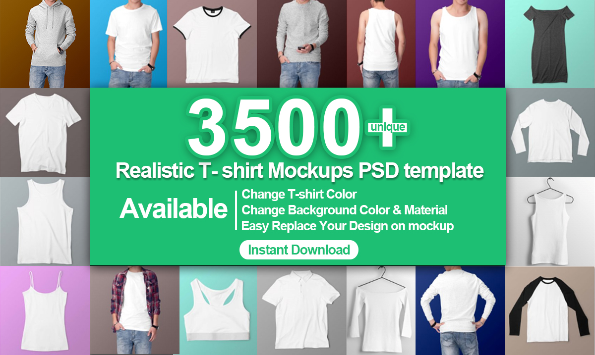Deliver 3500 T-shirt Mockups PSD Download Mockup Tshirt PSD
