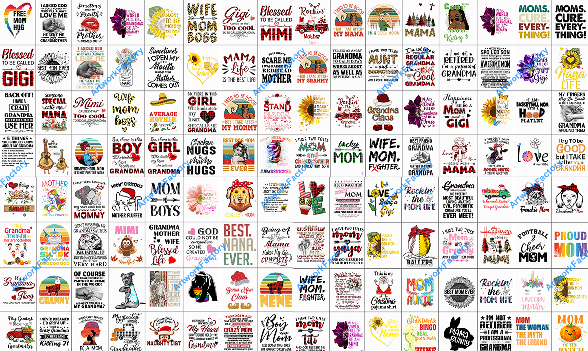 Send 2800 PNG files Tshirt Design Mother Family for Print On Demand