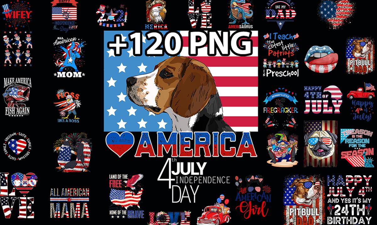 Send 120 Tshirt Design PNG Bundle 4th Of July America, Flag US Print On Demand