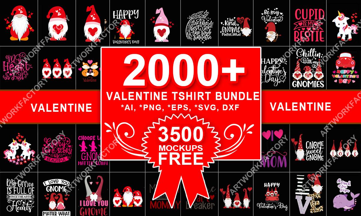 Deliver 2000 valentine design tshirt bundle vector template