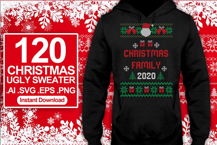 120 Ugly Sweater Christmas T-shirt Design SVG Bundles