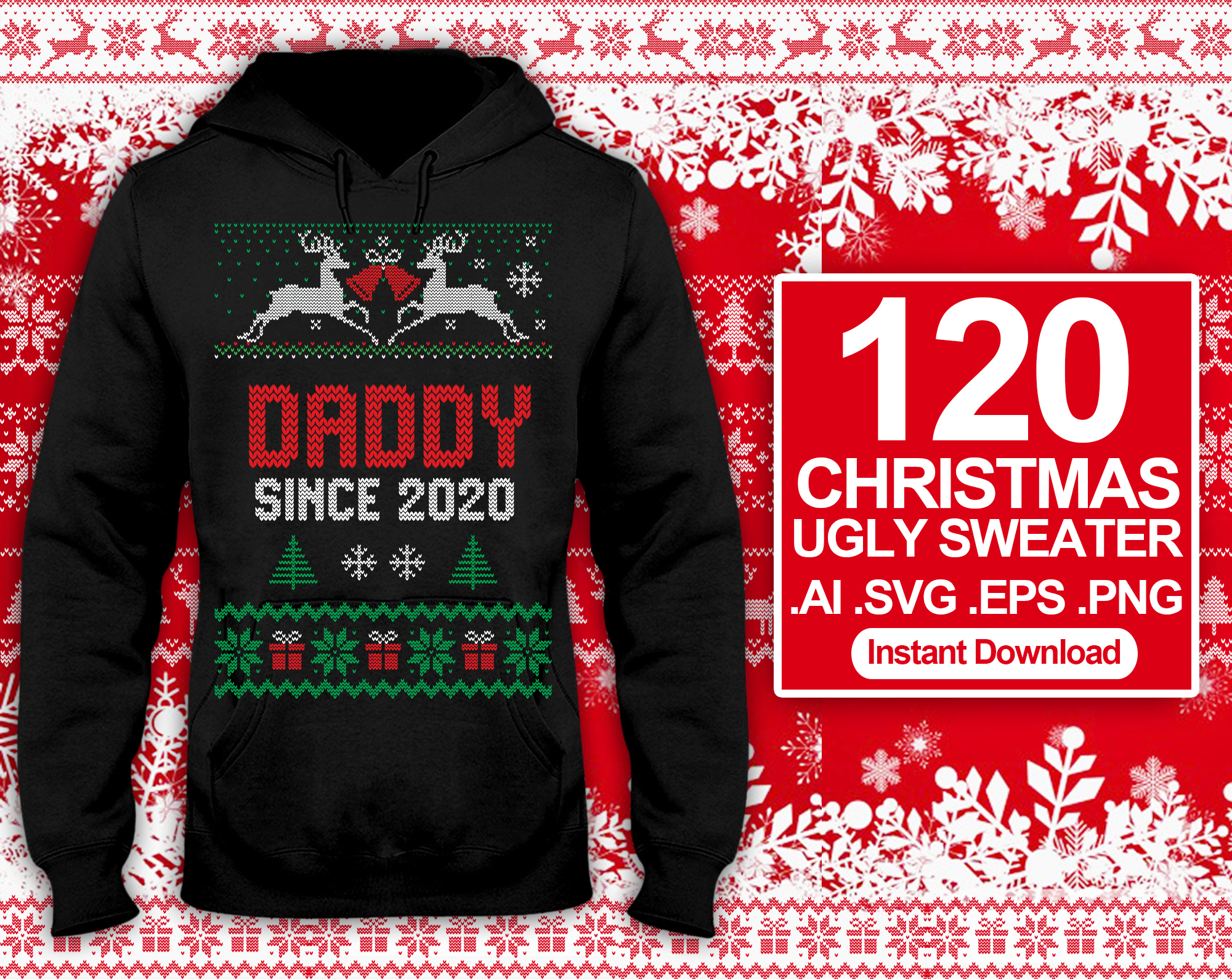 Send 120 Ugly Sweater Christmas T-shirt Design SVG Bundles