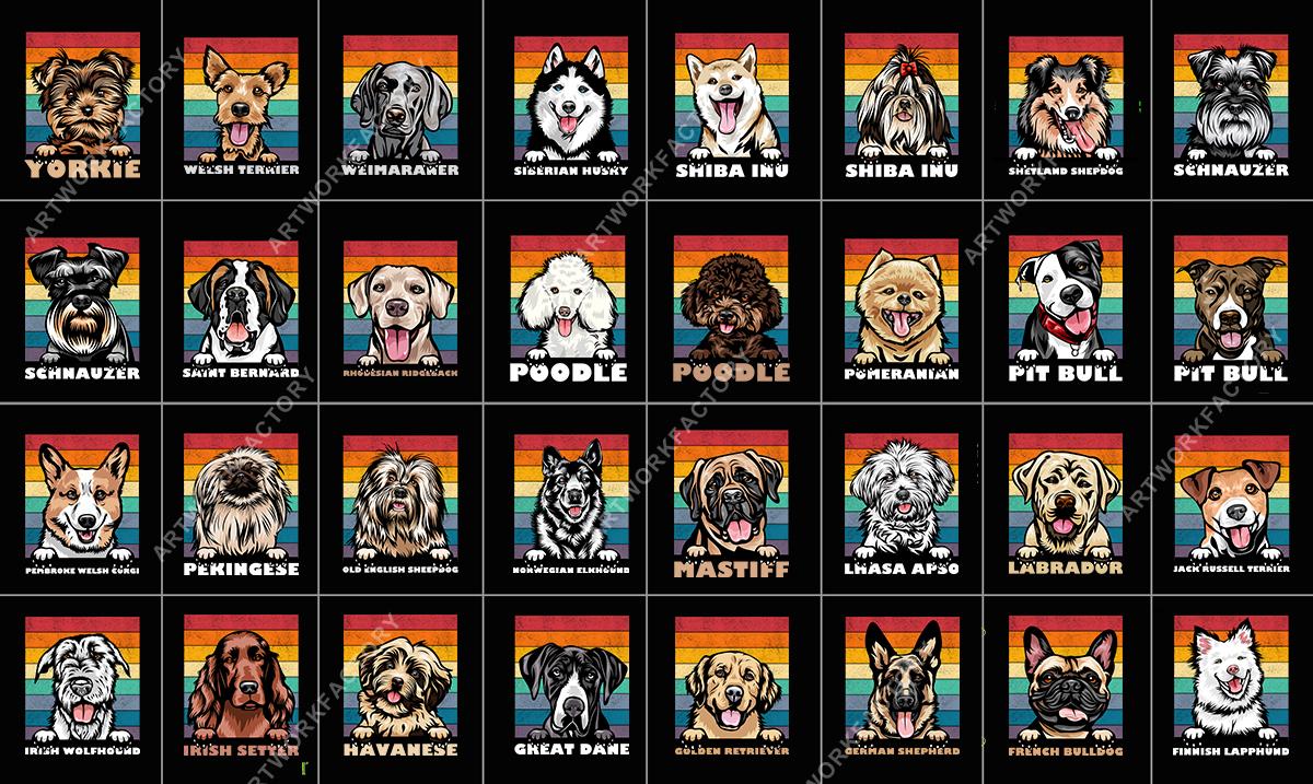 Instant Download 200 Dogs Face SVG T shirt Design Vintage template
