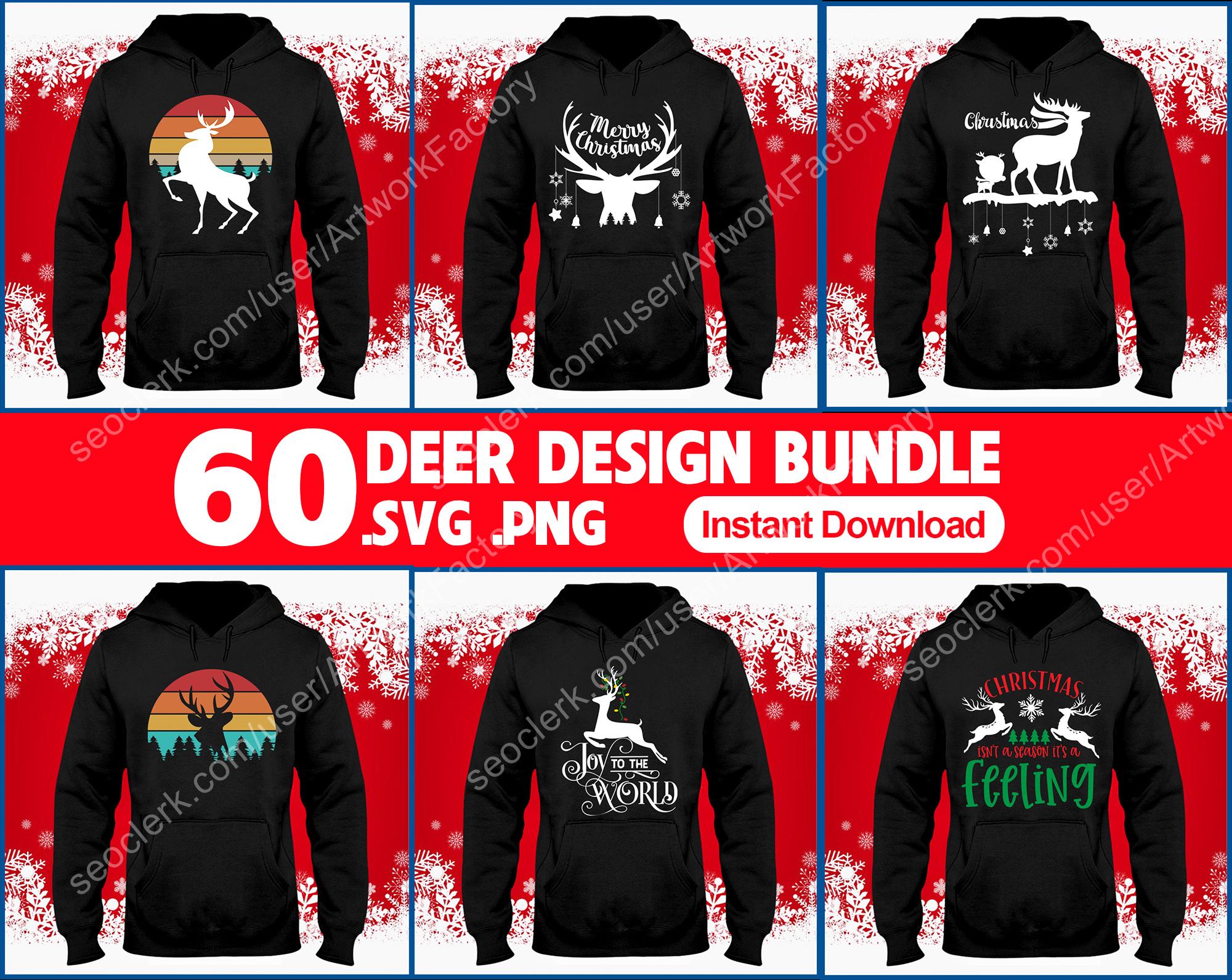 Deliver 60 files Deer Christmas T-shirt Design by Vector Bundle