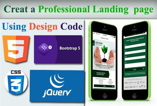 Create a professional landing pge
