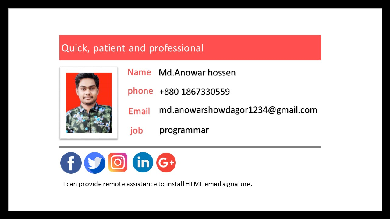 Develop an HTML email signature