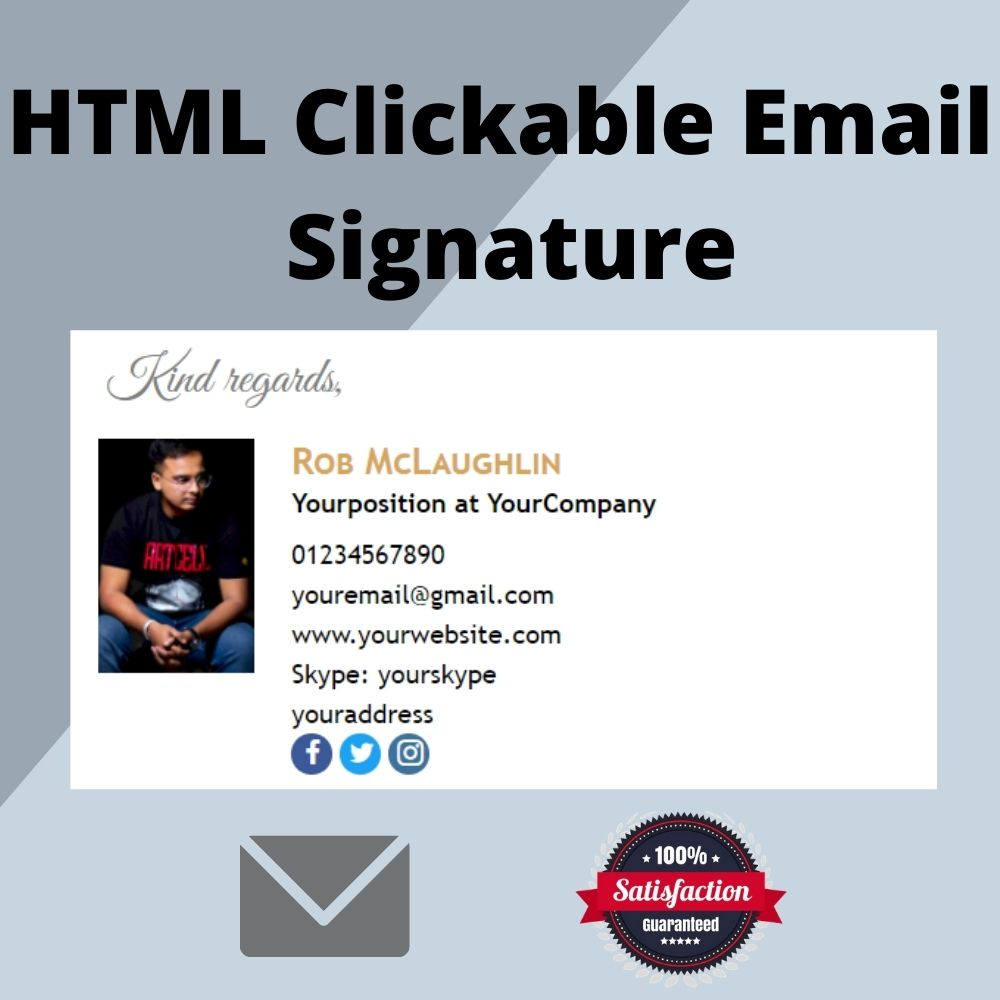 Professional create clickable HTML email signature