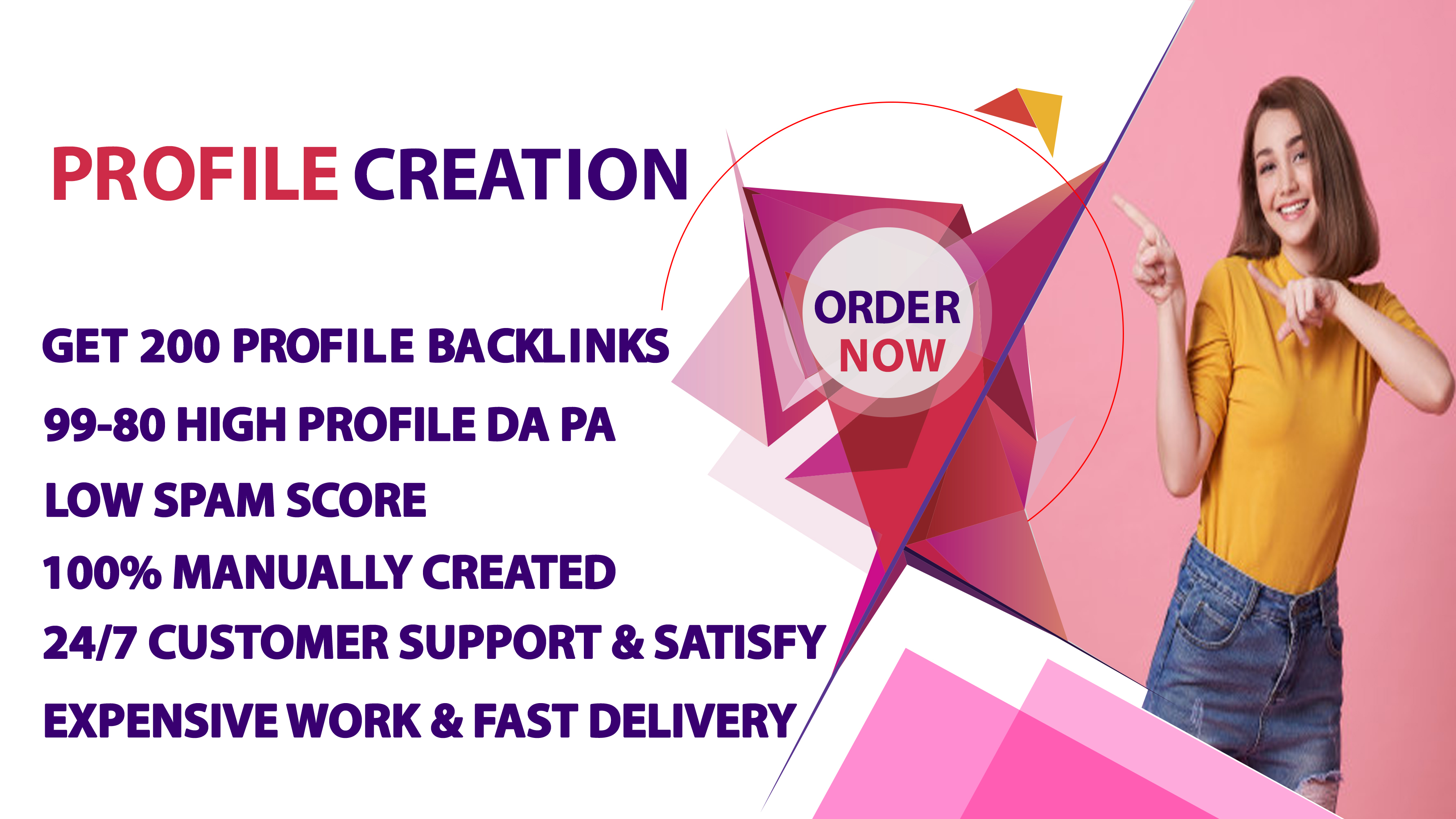 I will provide manually 200 High DA Profile Creation For ranking on your website.