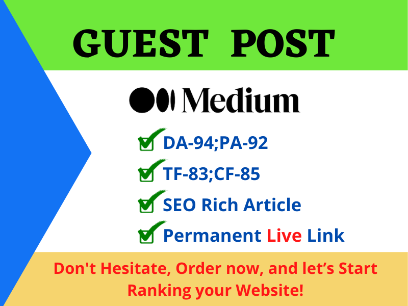 Write and Publish a Guest post on Medium with a permanent backlink
