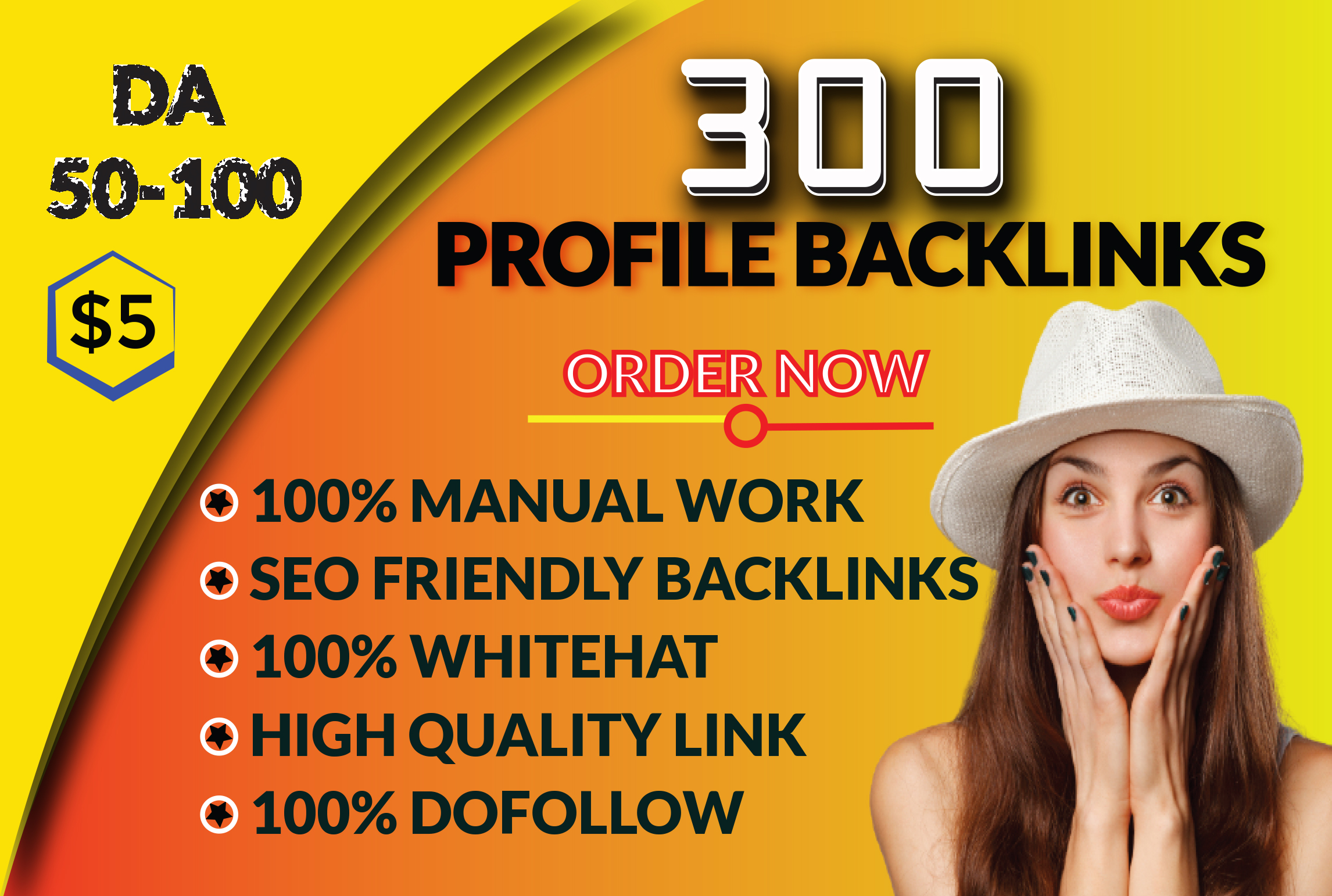 I will do High DA Dofollow whitehat manual SEO Profile Backlinks