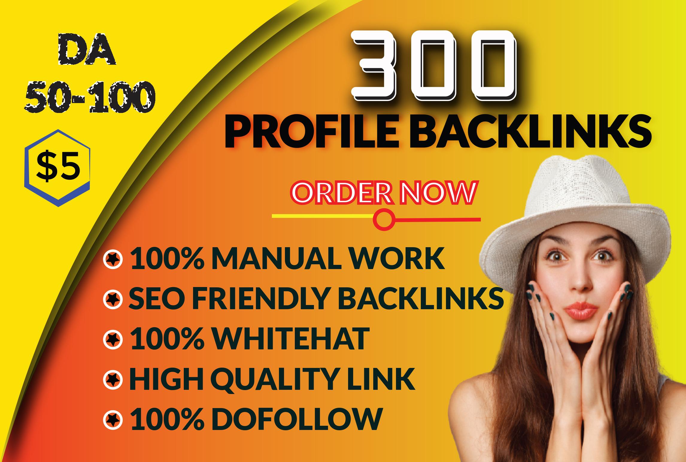 I will do 300 manual SEO Profile Backlinks