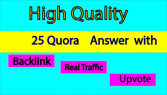 I will provide 25 quora question answer with backlink for your website