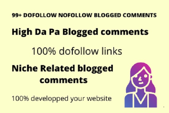 I will provided blogged comments backlinks Manually posted 15