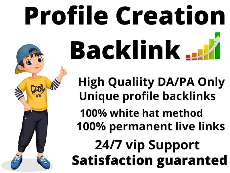 I will Create Manually 100 high Authority DA &PA Social Profile Creation Backlinks for Website Rank