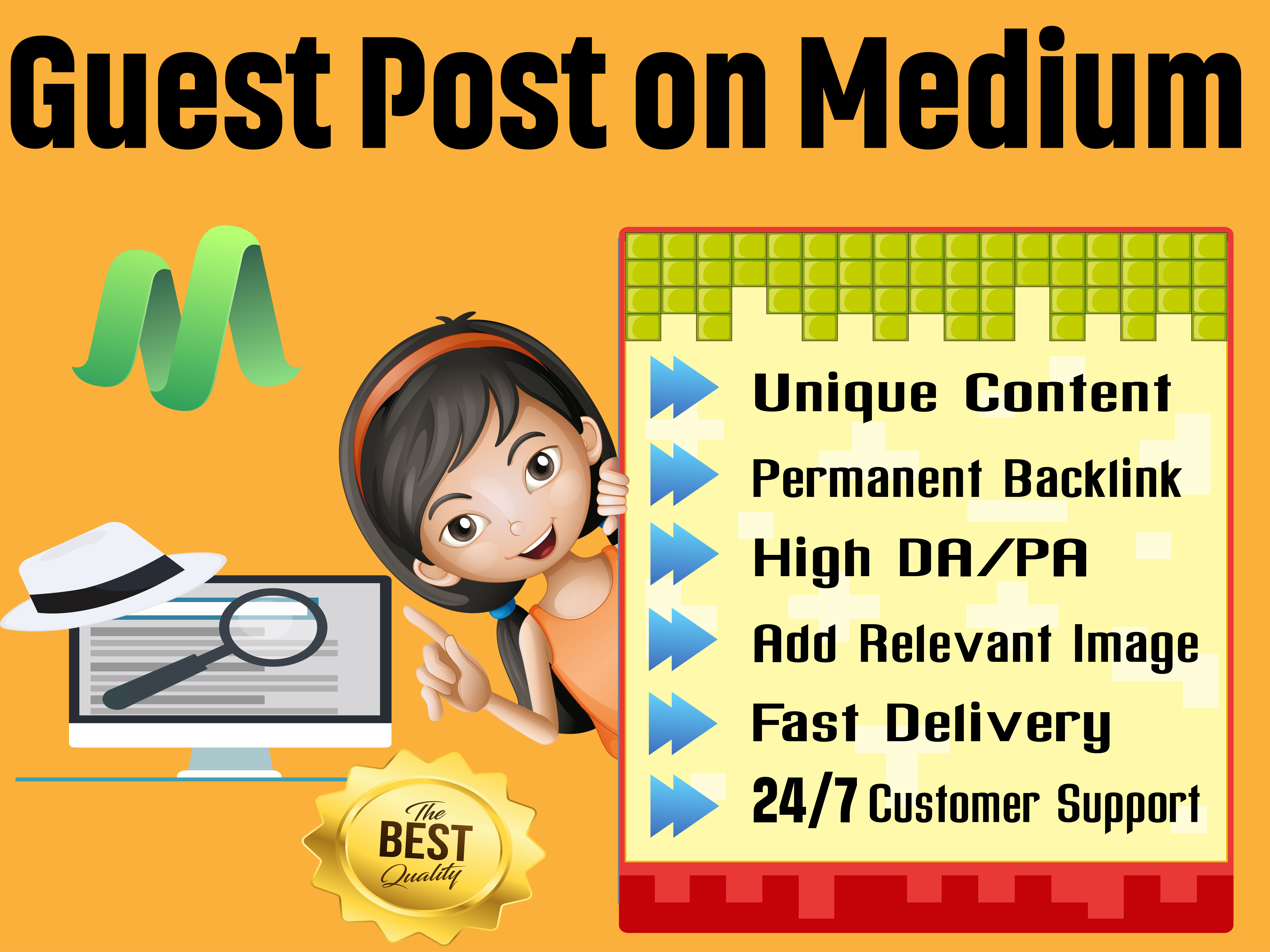 I will Write and Publish High-Quality Guest Post on Medium DA 96 With Permanent SEO Backlinks