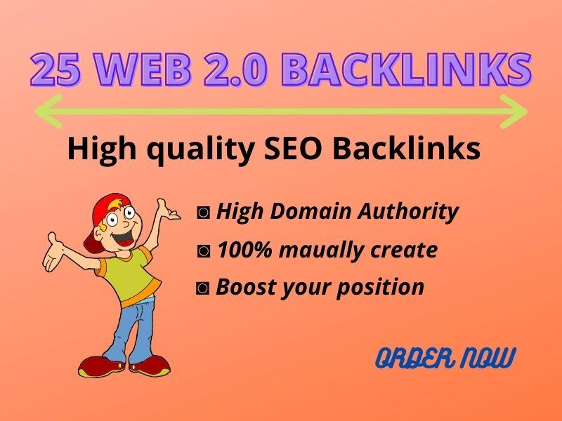 I Will Create 25 Web2.0 SEO Manual Backlinks High Authority Sites