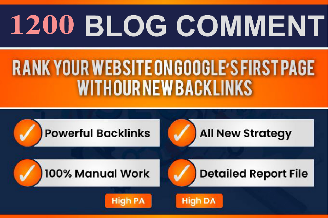 I will do 1200 seo dofollow blog comments backlinks for google rank