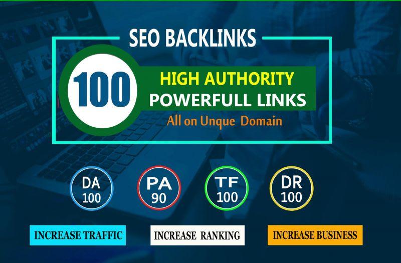 I will do 100 high da seo backlinks for rank website