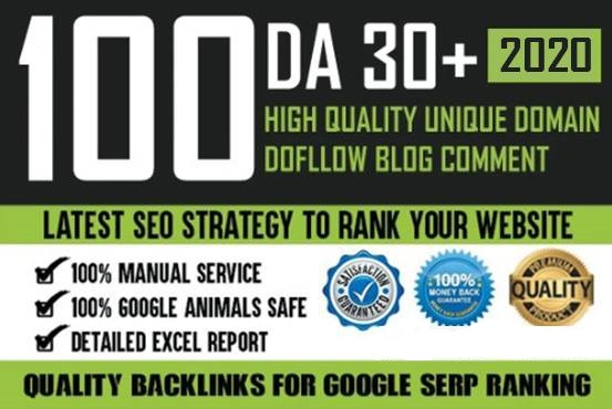 I will manually do 100 unique domain blog comments with high da pa