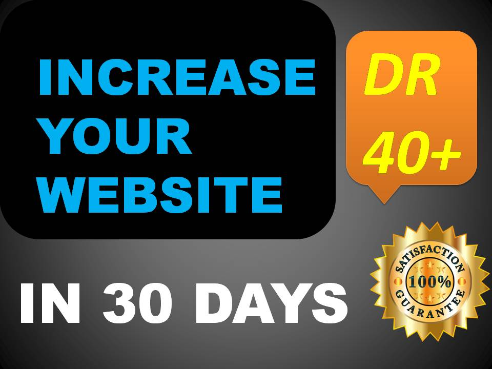 I will increase your website DR domain rating 40 plus in 30 days
