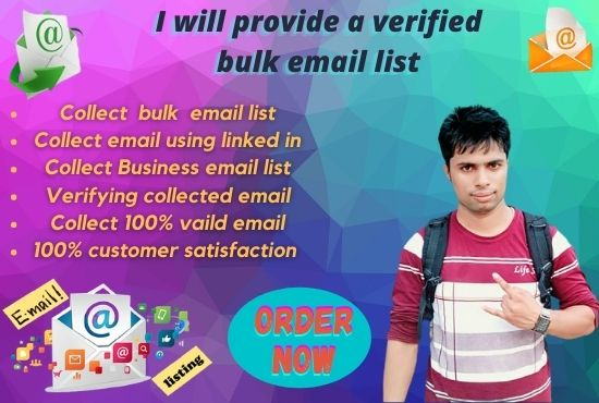 I will provide a 1k verified bulk email list