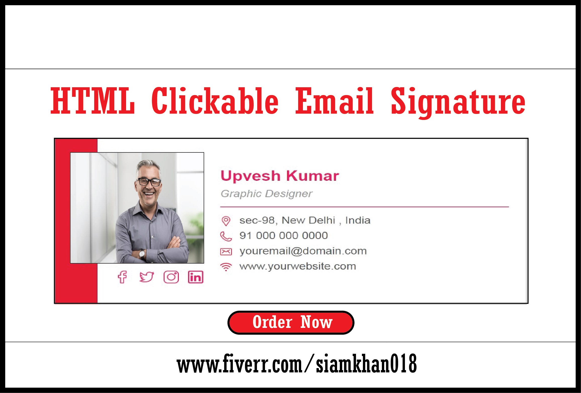 I will create html clickable email signature for you