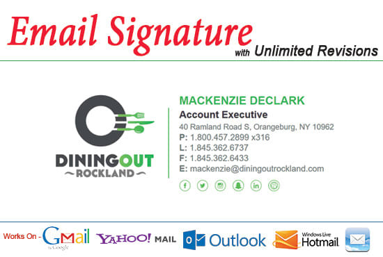 I will create clickable HTML email signature and Design