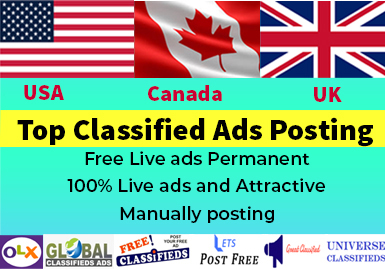 I will do manually post USA,  UK and Canada 50 top classified ads posting sites