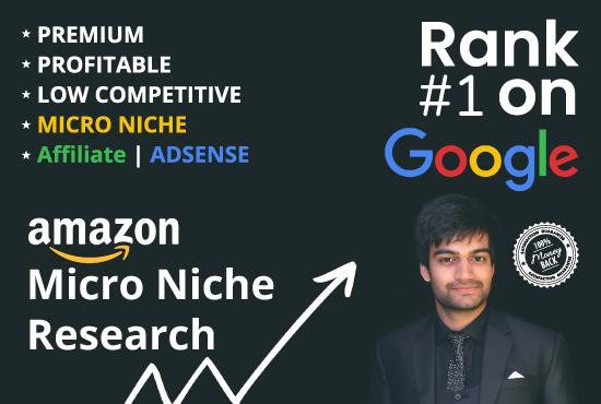 I will do micro niche research for amazon affiliate and adsense