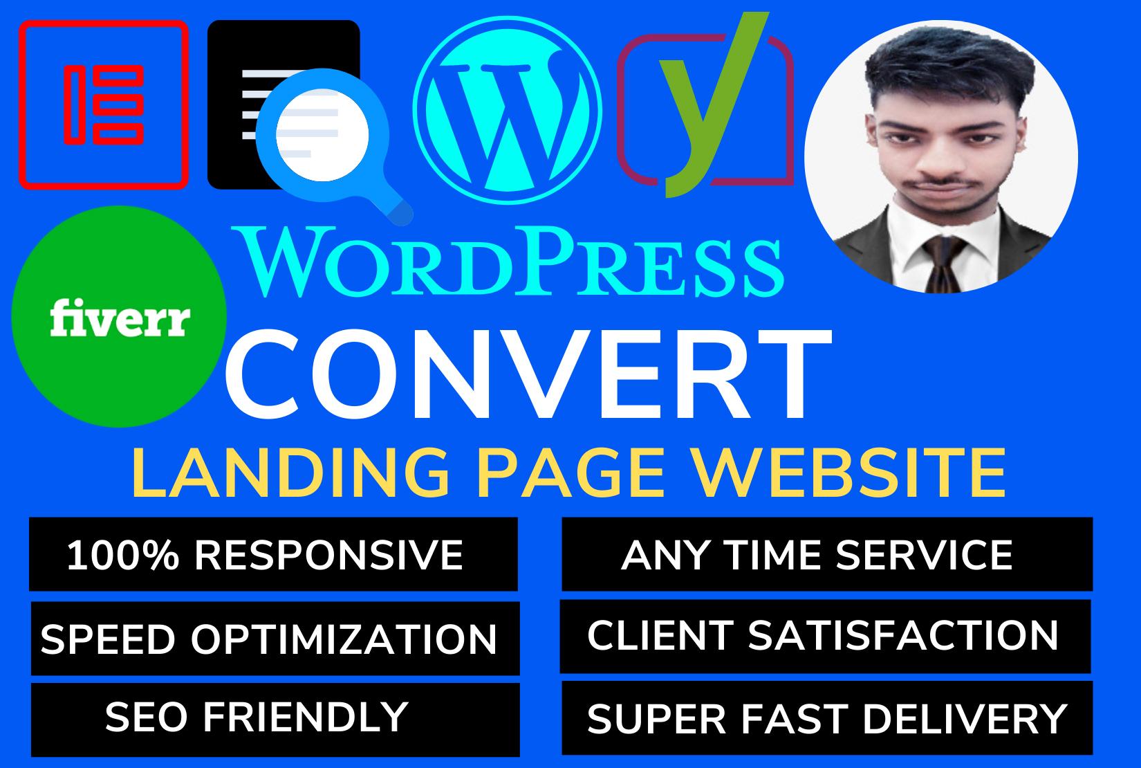 Build responsive landing page wordpress website