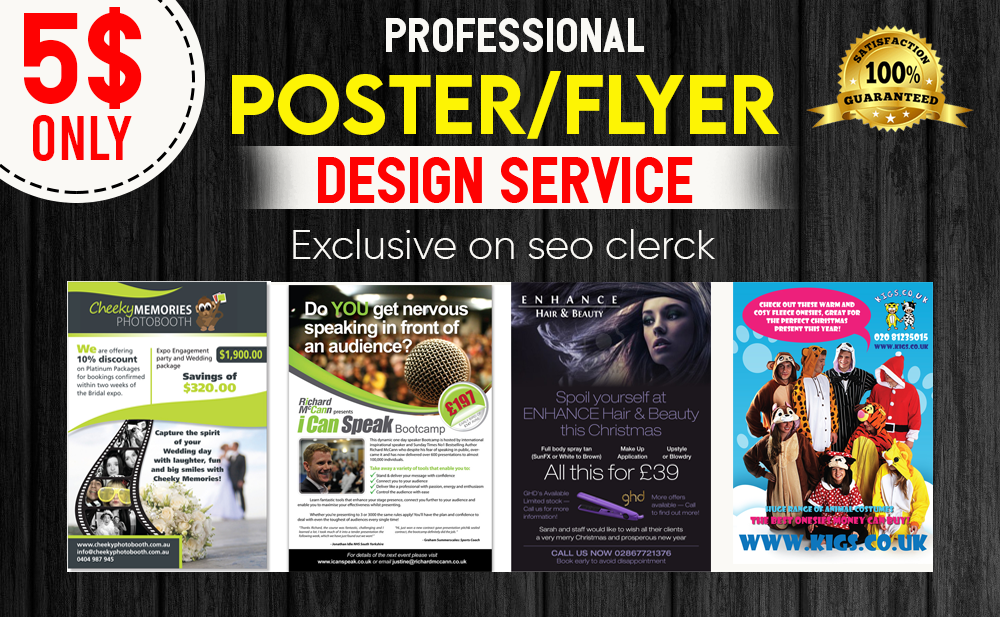design a attractive business flyer,  poster,  brochure and banner in 24 hours