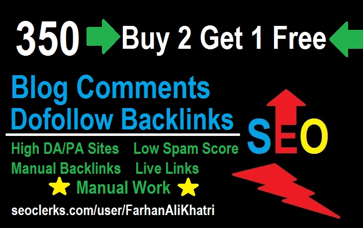 Buy 2 Get 1 Free 350 Blog Comments Dofollow Backlinks