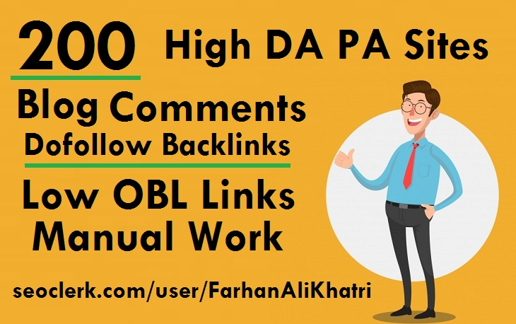 I will provide SEO service 200 blog comments dofollow backlinks