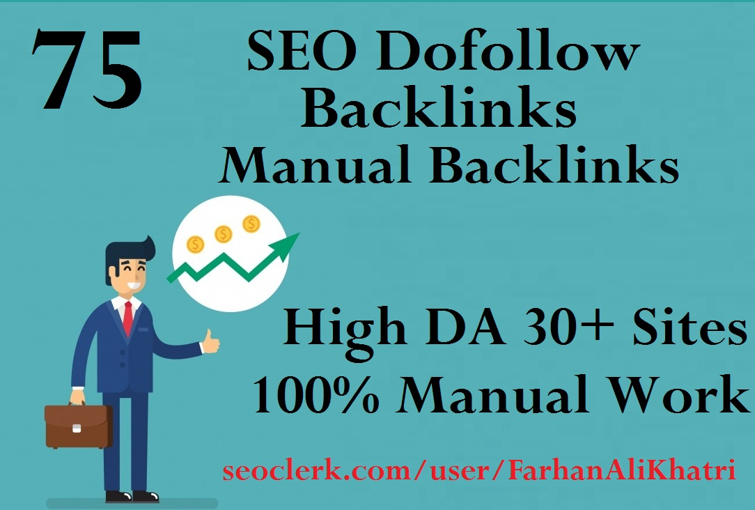 I will build 75 SEO dofollow backlinks linkbuilding on DA 30+ sites google top ranking