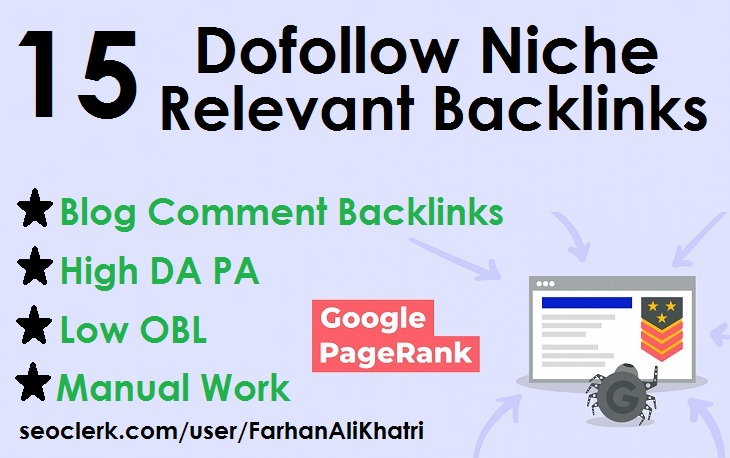Manual 15 niche relevant blog comments dofollow backlinks on high DA PA