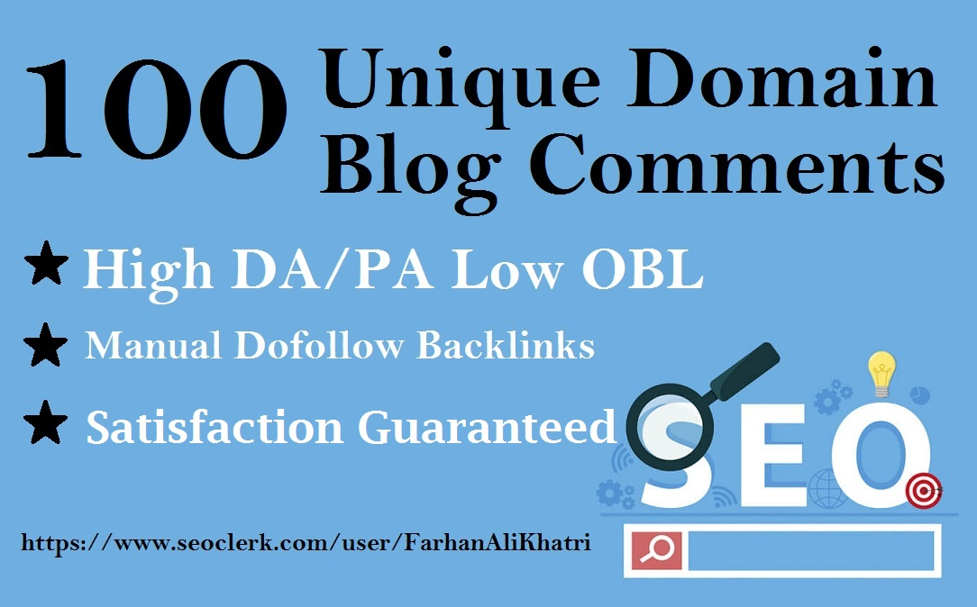 I Will Make 100 Unique Domains Seo Service Blog Comments Backlinks
