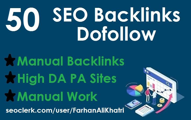 Do 50 SEO dofollow backlinks high DA PA fast rank your website