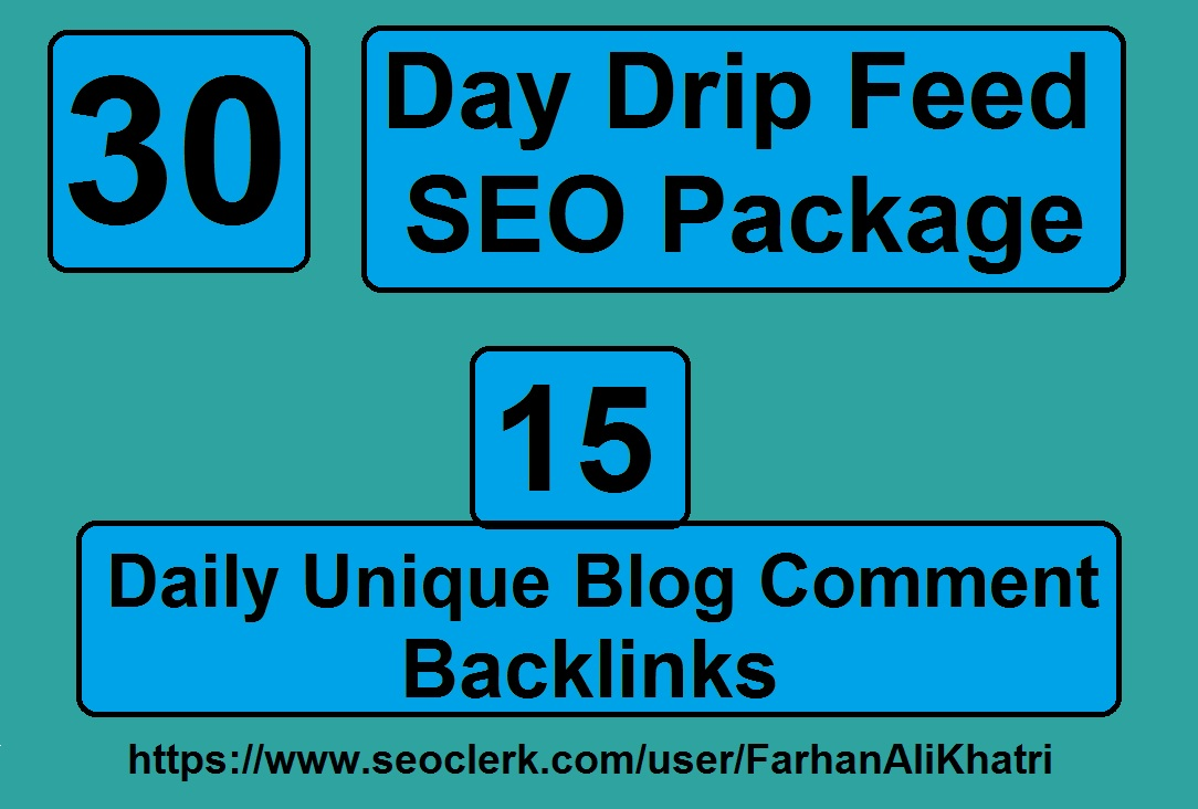 I will do 30 days drip feed SEO package 15 daily unique blog comments backlinks